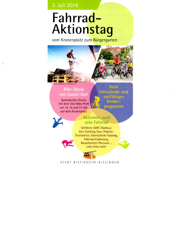 Fahrrad-Aktions-Tag 03.07.2016 in Bietigheim-Biss.